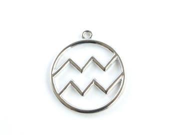 Aquarius Charm, Silver Aquarius Zodiac Pendant (206S)
