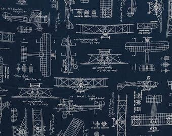 Cotton Vintage Airplanes Planes Blueprints Biplanes Diagrams Plans Flying Aviation Aviators Cotton Fabric Print by the Yard D762.33