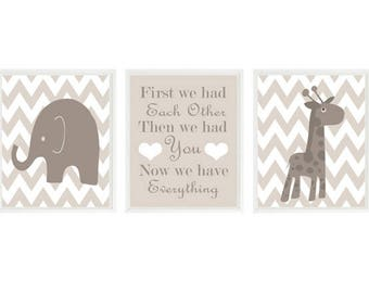Elephant Nursery Art, Giraffe Print, Baby Boy Nursery Prints, First We Had Each Other Quote, Chevron Decor, Gray Taupe Nursery, Baby Gift