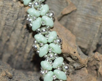 Mint green superduo bracelet with heart shaped magnetic clasp