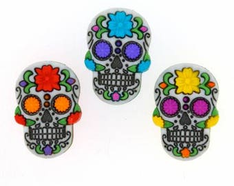 Sugar Skull Buttons - Dress it Up Sugar Skulls Novelty Buttons - Day of the Dead Embellishment - Mexican Folklore Crafts - Folk Crafts