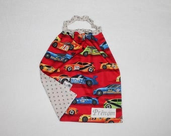 Towel personalized with name, printed elasticated neckline cars on red background