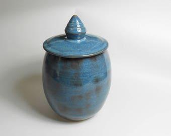 Keepsake urn - pet urn - blue pottery jar - burial urn - urn for ashes  J85