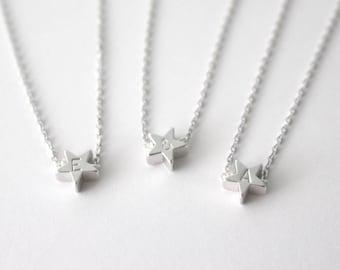 Initial star bracelet, Silver Initial Bracelet, Silver initial Star Bracelet, Star Bracelet, Hand stamped initial bracelet