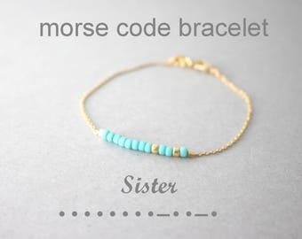 Morse Code Sister Bracelet, Sister Bracelet, Morse code beaded bracelet, beaded bracelet, secret message jewelry