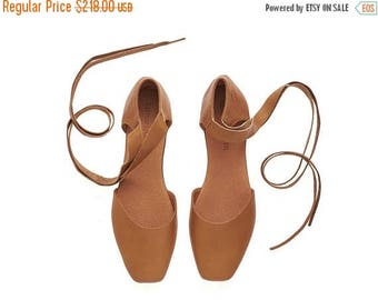 CHRISTMAS IN JULY Caramel brown leather ballerina shoes, Ana, handmade flat shoes