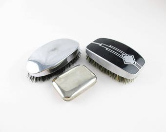 Three Men's Grooming Pieces - Vintage 'Pro-phy-lac-tic' Sterilized Brush, Chrome Top Brush and Small Soap Carrier - Vintage Shelf Pieces