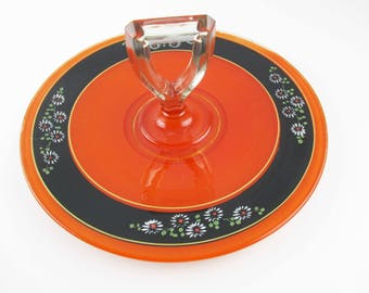 Art Deco Handled Serving Platter - Glass With Orange and Black  - Frosted Glass - Deco Lines and Colors - Clear Glass Stirrup Handle
