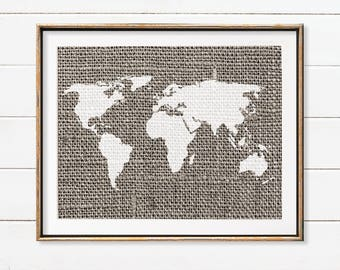 Map Of The World Travel Wall Decor Rustic Home Art Living Room Poster