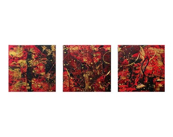 "Three Piece Abstract Acrylic Painting 36x12"" (Three 12x12"" Pieces) - ""Amor Fati"""