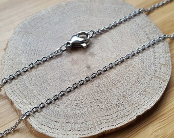 Chain link Steel carabiner width 1.5 mm necklace choice of length