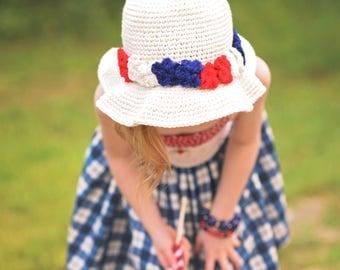 4th of july Sun hat/ cream sun hat/ girls sun hat/ beach hat/ flower crown/ girls flower crown