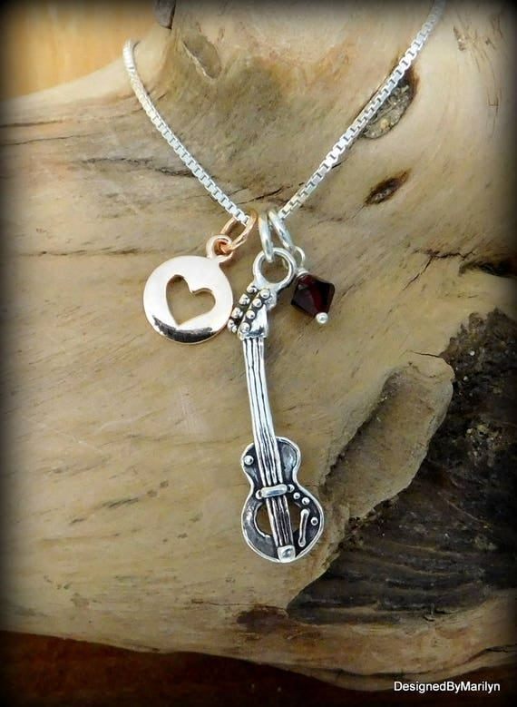 Sterling silver guitar necklace, musician necklace, personalized music necklace, music instructor, music student