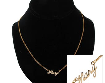 "Script Name Mary Charm Pendant Gold Tone Necklace 16"" Vintage 70s"