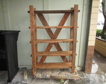 open bookcase custom made from reclaimed wood in the USA