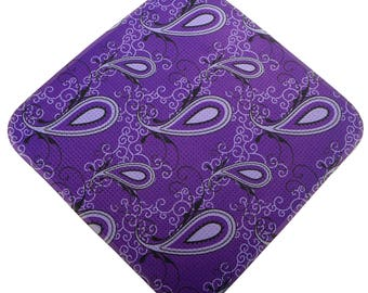 Purple Paisley Print Microfiber Women's Golf Towel two great looks in one
