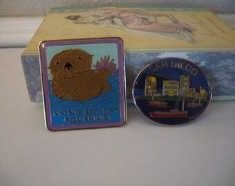 Travel Magnets - Set of 2 Metal Travel Magnets - Monterey Bay Aquarium and San Diego