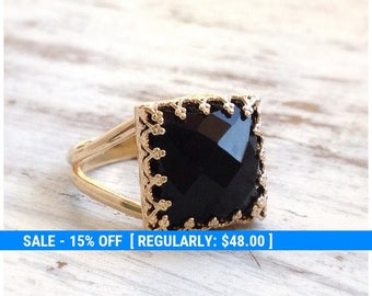 Onyx Ring gold - black Stone ring - Square Ring - Stacking Ring - Gemstone Ring - Black Onyx - 30015