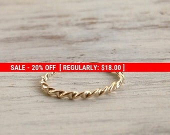 SALE 20% OFF Gold ring, stacking rings, gold twist ring, handmade, stack ring, thin gold ring, knuckle ring - 1005