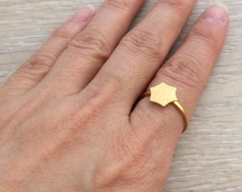 Gold Rings, Hexagon Ring, Geometric Rins, Stack Ring