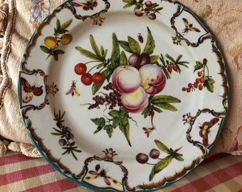 French Country Shabby Chic Tin Enamel Plate From Duke of Gloucester pattern