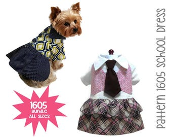 Back to School Dog Dress Sewing Pattern 1605 * Bundle All Sizes * Dog Clothes Sewing Pattern * Small Dog Dress Pattern * Dog Harness Pattern