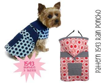 Dog Rain Coat Pattern 1543 * Bundle 3 Sizes * Dog Clothes Sewing Pattern * Dog Coat Pattern * Dog Jacket * Little Dog Coat * Dog Raincoat