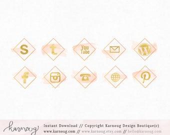 Geometric Watercolor Social Media Icons Clip Art Downloadable Clip Art Social Media Icons Hand drawn Social Media Peach Icons Web Buttons