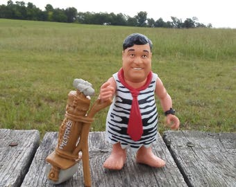 "Vintage the FLINTSTONES Movie Figure Fred Flintstone 1993 ""Big Shot Fred"" with His Golfing Bag COMPLETE 4.5"" x 3"" John Goodman as Fred Toy"