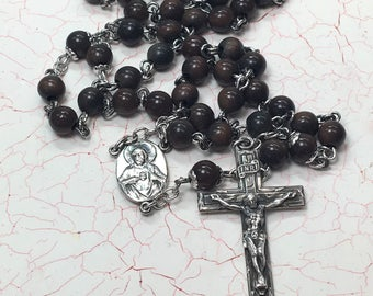 Sterling Silver Rosary Priest Rosary Monk Prayer Beads Roman Catholic Devotional Rosary Brown Beads Handmade Finely Crafted