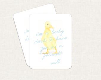 Ich bin eine glückliche Ente, einen Freund zu haben, wie Sie Valentinstag Karten Kinder