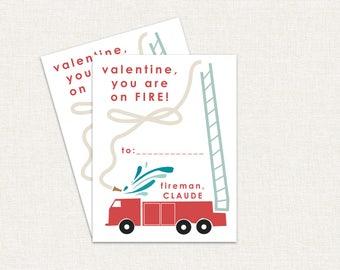 Sie sind auf Feuer Feuerwehr Kinder Valentinstag Karten