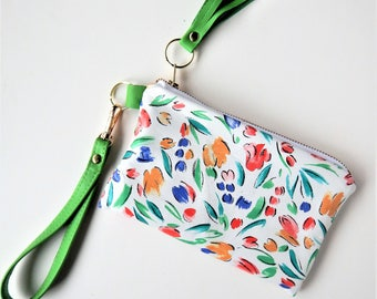 Flowered leather wristlet for summer.