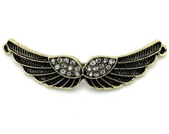 1 connector bronze metal wings and Crystal rhinestones