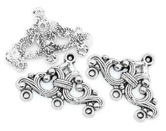 10 1-3 strands 14 * 24mm - silver plated antiqued chandelier