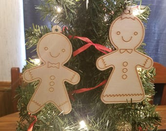Wooden Christmas Ornament Gingerbread Man Gingerbread Woman Tree Ornaments Home Decor Gift
