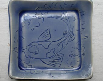 Small Square Plate with Hand Carved Koi Fish, in Blue Glaze