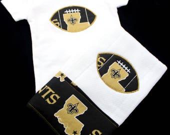 New Orleans Saints Bodysuit and Burp Cloth set