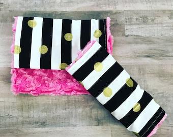 2 GIRLS BURP CLOTHS • Baby Girl's Burp Cloths • Baby Set • Gift • Stripe Gold Dot • Pink Faux Fur • Baby Shower Gift • Baby Girl • BizyBelle