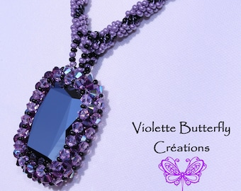 Necklace Queen Victoria Crystal Swarovski - Necklace Couture - Bead Weaving - luxury
