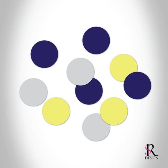 Circle Confetti, Navy Gray and Yellow Set