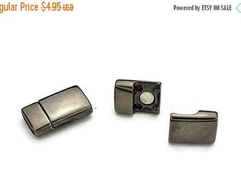 30% Off 10MM Flat Leather Clasp - Gunmetal - Magnetic Clasp - High Quality Metal Casting