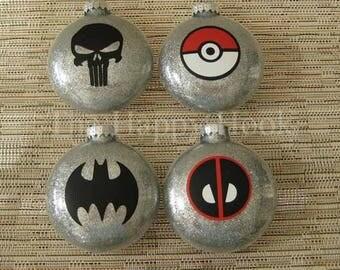 Pokeball, Batman, Deadpool, Punisher Christmas Ornament Set. Free Standard Shipping