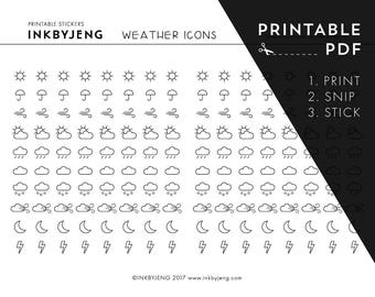 Printable PDF - Weather Icon Planner Stickers - Perfect for your journal or planner - Just print, snip and stick!