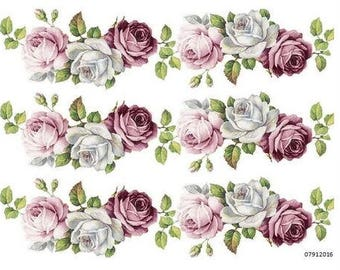 VinTaGe XXL LiLaC U0026 WHiTe CaBbagE RoSe SWaGs ShaBby WaTerSLiDe DeCALs ~ FuRNiTuRe SiZe~
