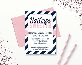 INSTANT DOWNLOAD Navy and Pink Sweet 16 Invitation, Sweet Sixteen Party, Editable Invitation, Printable PDF Invitation, Digital Invitation