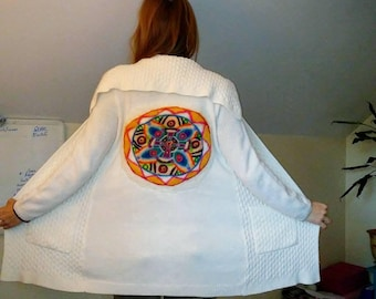 Handfelted Mandala on Upcycled Sweater