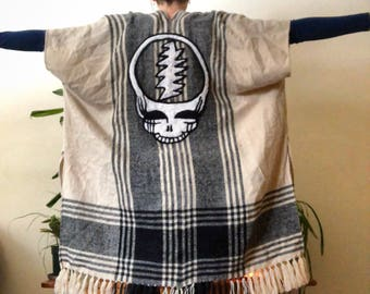 One Of a Kind Handfelted Steal Yor Face on Upcycled Extra Long Poncho