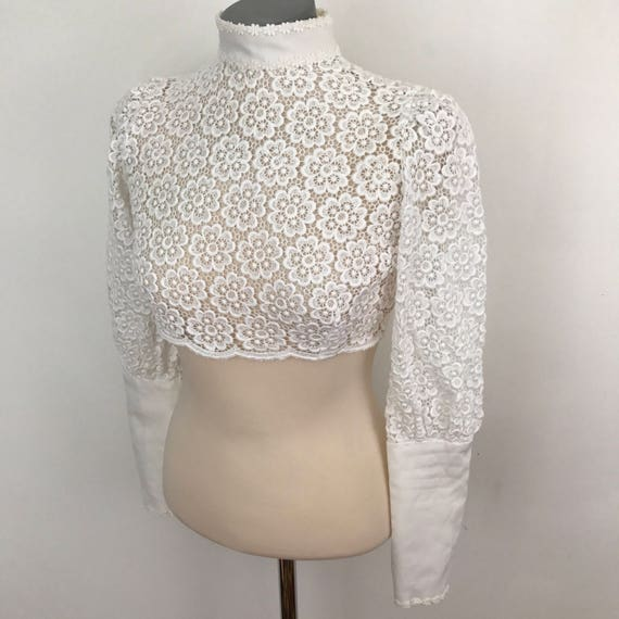 Vintage crop top cropped blouse 1970s lacy shirt high neck Frilly Blouse Steampunk Victoriana top white sheer vintage bridal wedding UK 10