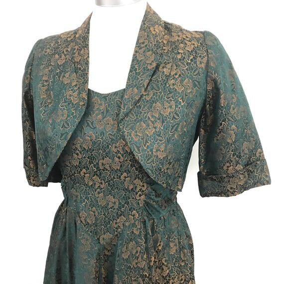 1950s dress green copper brocade full skirt party dress 50s bolero New Look UK 10 late 1940s dress floral pin up rockabilly
